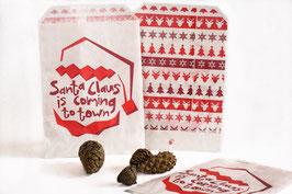 """25 Geschenktütchen aus Pergamin """"Santa"""" 13 x 18 cm"""