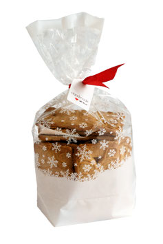 25 Stück OPP Geschenktüten mit weißen Schneesternen