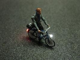 Fahrrad mit LED Beleuchtung H0 - Fahrer mit Schal