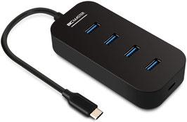 BC MASTER USB-Hub, Hub, 4-Port-USB-Hub, Typ C auf USB 3.0