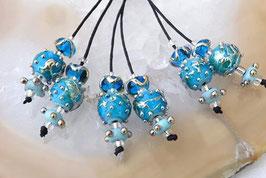 1 Pair *Golden Aqua Spheres* 4 Matching Beads