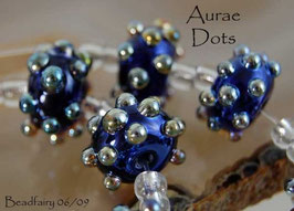 1 Pair Cobalt Blue Aurae Dots Dark Blue Gold Silver Metallic