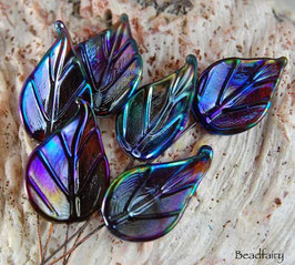 6 Oil Slick Leaves Headpins