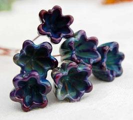 6 Purple Mix Bellflower Headpins , Glass Head Pins, Handmade Earthy Organic
