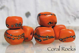 Coral Rocks, 9 handmade glass beads, coral, orange red