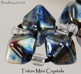 7 Triton Crystals Beads Metallic Blue Silver Glass