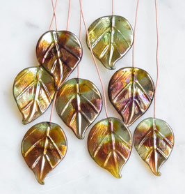 8 Bling Leaves Head Pins Green Brown Gold Purple Glass Headpins