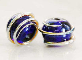 Pair Cobalt Blue Belles , Dark Transparente Blue Gold Spiral