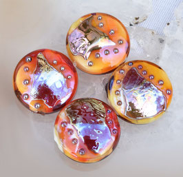 4 Fire Cracker Spree Lentils , Orange Red Gold glass beads