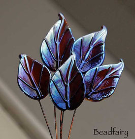 6 Ekho Leaves Head Pins, metallic berry brown silvery
