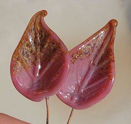 2 Raspberry Raku Leaves Head Pins Set, Pink and Earthy colors