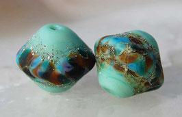 Large Sea Glass Bicones - Mint Green Treasures