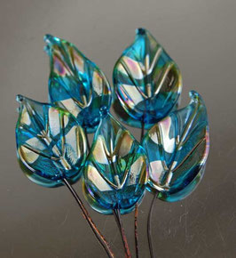 8 Aqua Gold Leaves Headpins Set, Glass Head Pins