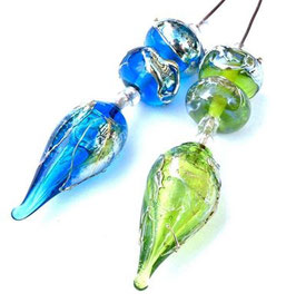 *Lime Green Bling* or *Aqua Bling* Hollow Pod Headpin with 2 Matching Beads