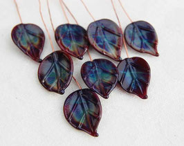 8 Dark Purple Leaves Head Pins