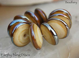 10 Earthy Bling Discs Beads organic color ivory with gold