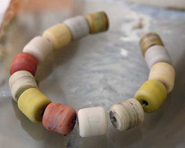 14 Organic Sea Glass Mini Barrels Ivory, Light Brown, Sand Handmade Beads
