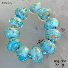 10 Turquoise Spring Beads