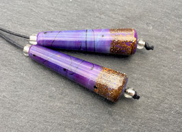 1 Earring Pair * Silver Sprinkled Purple * Long Cones *