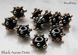 1 Pair Black Aurae Dots, glass beads, bumpy gold dots