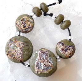4 Crusty Rustic Olive Green Sprees & 4 Rounds Olive Green Raku Earthy Organic