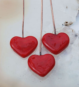 2 Lipstick Red Heart Head Pins Set, Glass Headpins