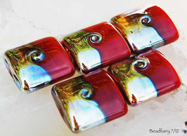 Lampwork beads in red and gold