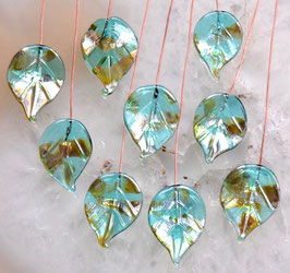 8 Teal Green Bling Leaves Head Pins Glass Headpins