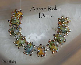1 Pair Aurae Raku Dots, cool earthy color encased with bumpy gold dots