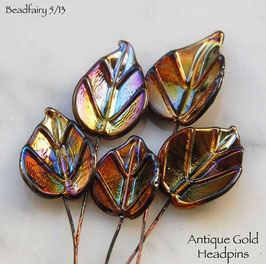 6 Antique Gold Leaves Headpins