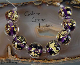 8 Golden Grape Flakes with fine gold!