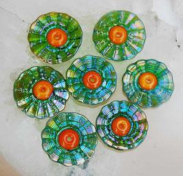 Gaia Tangerine Petals, green metallic shimmer