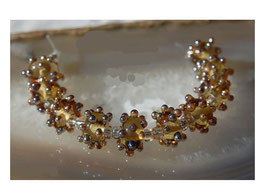 1 Pair Champagne Aurae Dots, handmade glass beads, bumpy gold dots
