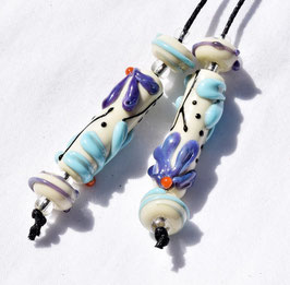 *Violet & Turquoise Flower Tubes* 4 Matching Beads