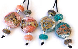 Crusty Orange or Teal Green Raku Spree Lentils & 4 Accent Beads