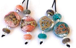 Crusty Orange or Teal Green Raku Spree Lentils & 4 Accent Beads