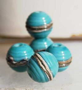 5 Turquoise Ivory Ribbed Spheres