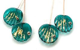 1 Pair Golden Teal Green Shell Head Pins23K Fine Gold Foil Head Pin