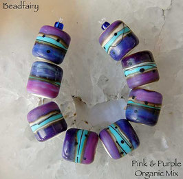 1 Pair or 4 Pairs Pink Purple Organic Mix Barrels