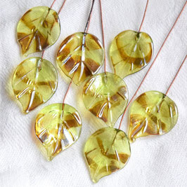 8 Golden Peridot Leaves Head Pins
