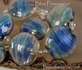 Blue Persuasion 7 lampwork beads handmade lentil
