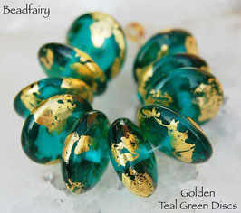 10 Golden Teal Green Discs