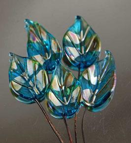 6 Aqua Gold Leaves Headpins