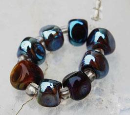 8 Ekho Triangles Handmade Glass Beads
