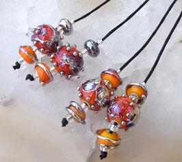 1 Pair *Fire Cracker Spheres* 4 Matching Beads