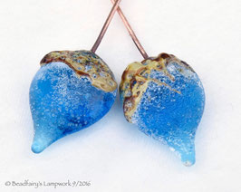 1 Pair *Crusty Aqua Blue Raku Teardrop Headpins * Rustic