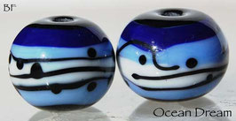 1 Pair Ocean Dream Spheres dark blue , light blue , white , spheres black