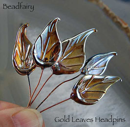 8 Gold Leaves Head Pins Set, Glass Headpins