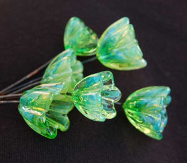 6 Silverglass Bellflower Headpins , Green Blueish Glass Head Pins, Earthy Organic