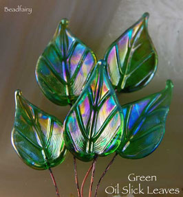 6 Green Oil Slick Leaves Head Pins Set, metallic oil slick